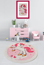 Load image into Gallery viewer, Antdecor Happy Pink Pony Decorative Round Area Rug 78'' 200cm