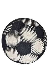Antdecor Soccer Ball Pattern Modern Decorative Round Area Rug
