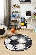 Load image into Gallery viewer, Antdecor Soccer Ball Pattern Modern Decorative Round Area Rug