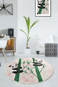 Antdecor Forest and Sweet Pandas Modern Decorative Round Area Rug