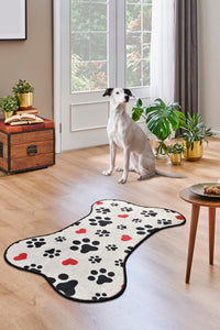 Antdecor Little Red Paws and Dog and Bone Pattern Modern Decorative Area Rug