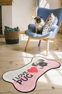 Antdecor I LOVE PUG Design and Bone Pattern Modern Decorative Area Rug