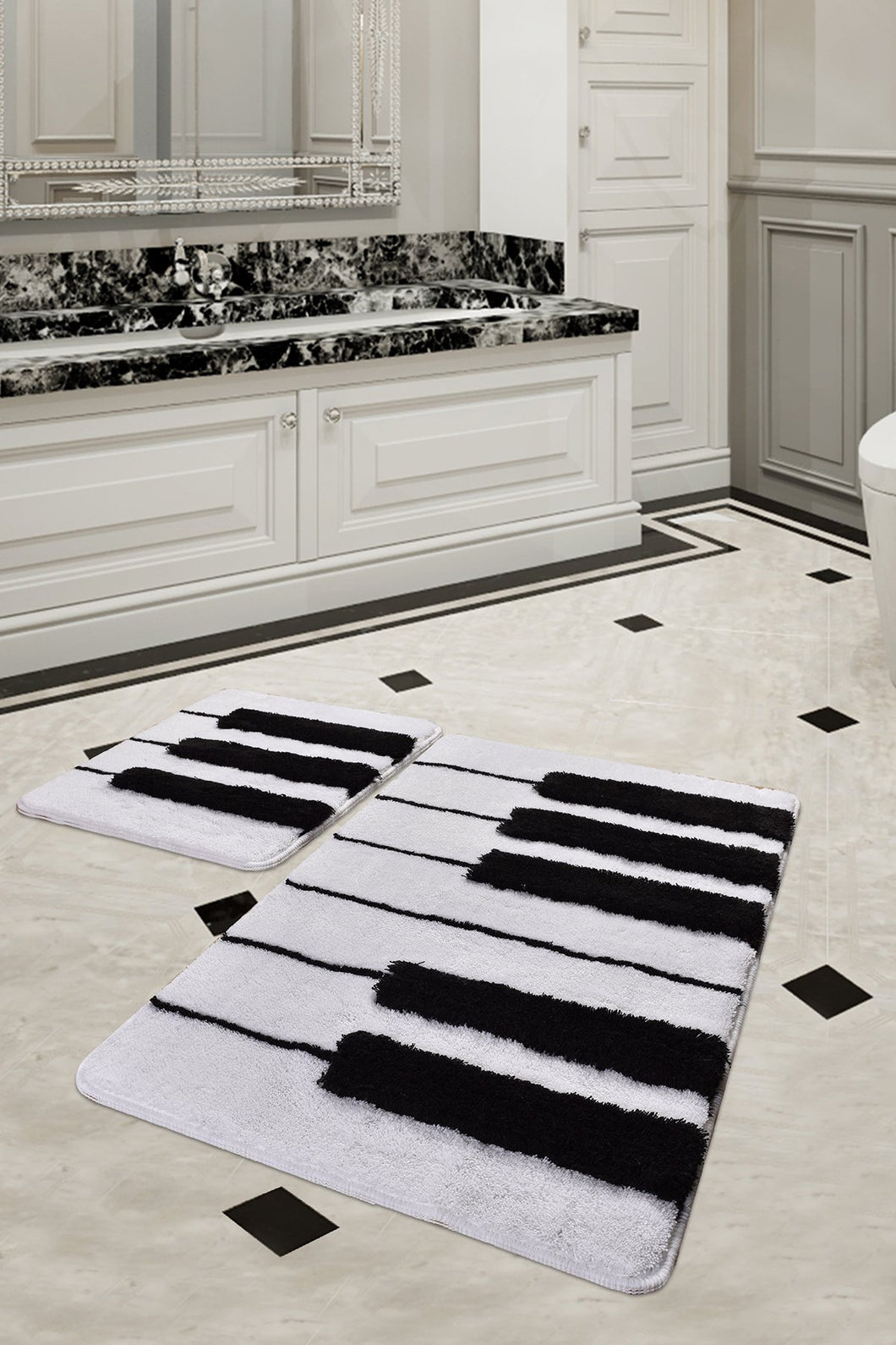 Antdecor Piano Design Black&White Modern Decorative Area Rug