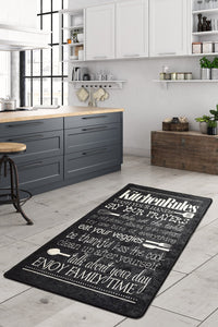Antdecor Black&Gray Kitchen Rules List on Decorative Modern Area Rug