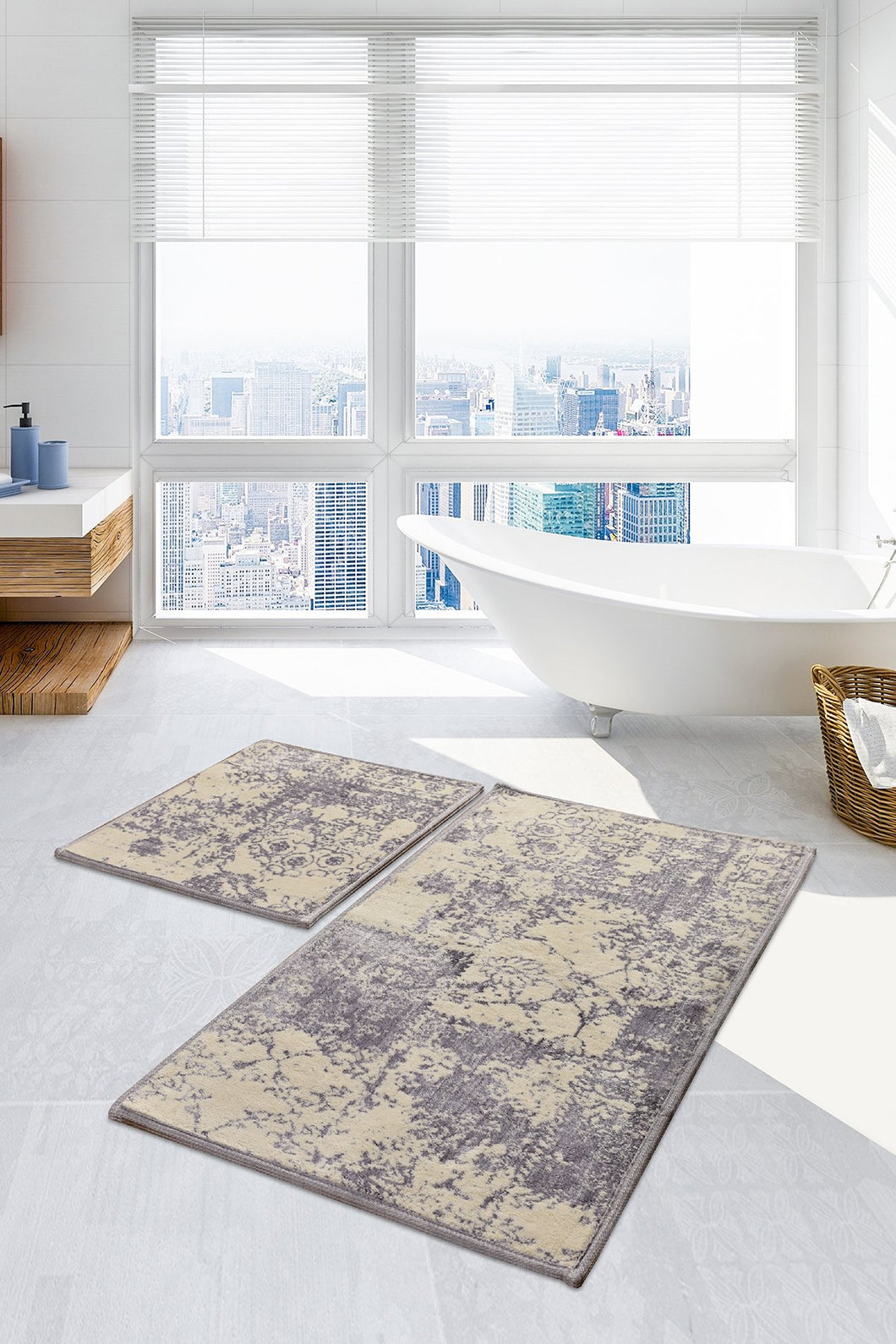 Antdecor Lilac Color Abstract Pattern Modern and Decorative Bathroom Rug