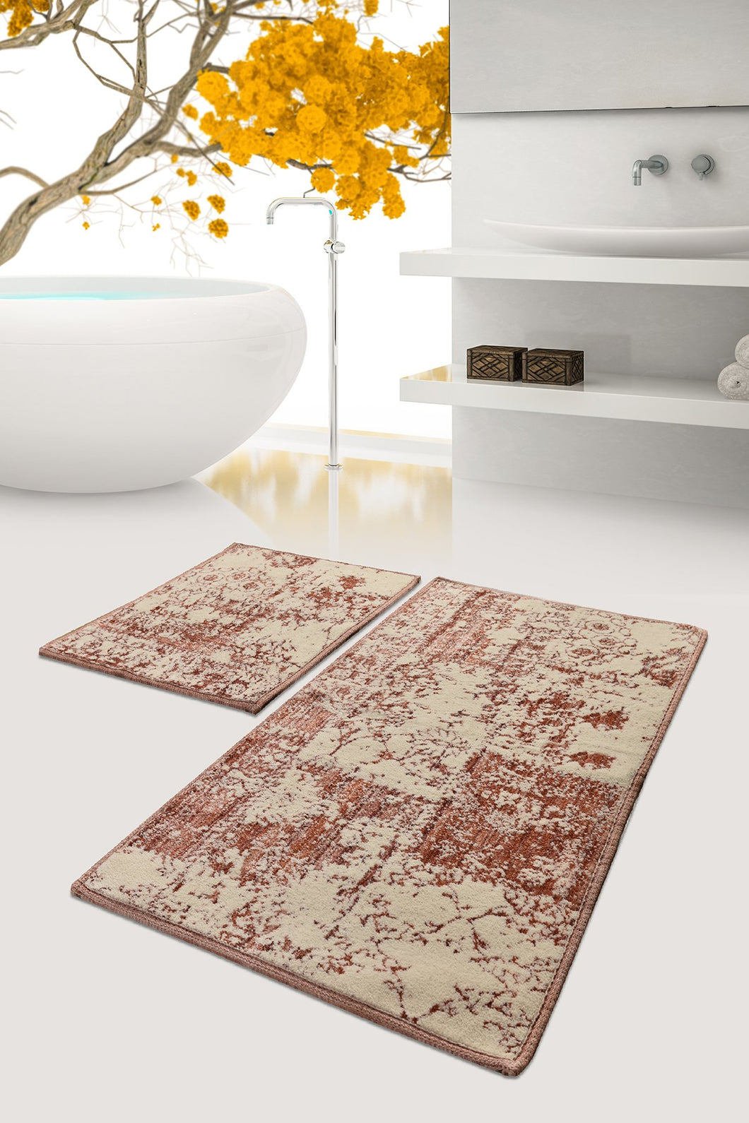 Antdecor Cinnamon Color and Brown Modern and Decorative Bathroom Rug