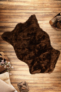 Antdecor Brown Plush Modern Decorative Area Rug 23'' 35'' 60x90 cm