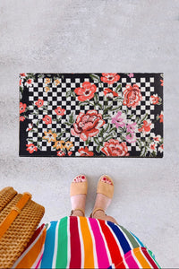 Antdecor Flowers Checkered Pattern Modern Decorative Door Mat 17'' 27'' 45x70 cm