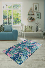 Load image into Gallery viewer, Antdecor Blue&Pink Tropical Design  Modern Decorative Area Rug