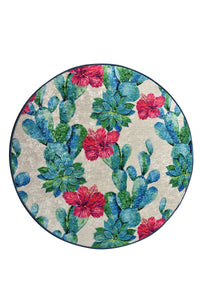 Antdecor Floral Design Blue&Pink Flowers Decorative Round Area Rug