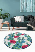 Load image into Gallery viewer, Antdecor Floral Design Blue&Pink Flowers Decorative Round Area Rug