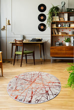 Load image into Gallery viewer, Antdecor Geometric Design Red Crackles Decorative Round Area Rug 55'' 140cm