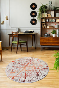 Antdecor Geometric Design Red Crackles Decorative Round Area Rug 55'' 140cm