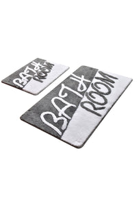 Antdecor Bathroom Grey Set Of 2 Bath Rug 60X100 Cm - 50X60 Cm