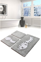 Load image into Gallery viewer, Antdecor Big Eyes Grey Set Of 3 Bath Rug