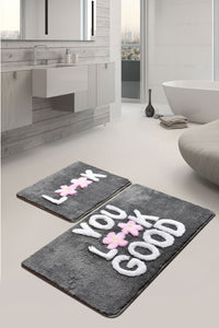 Antdecor Look Grey Set Of 2 Bath Rug 60X100 Cm - 50X60 Cm