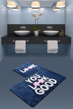 Load image into Gallery viewer, Antdecor Look Blue Set Of 2 Bath Rug 60X100 Cm - 50X60 Cm