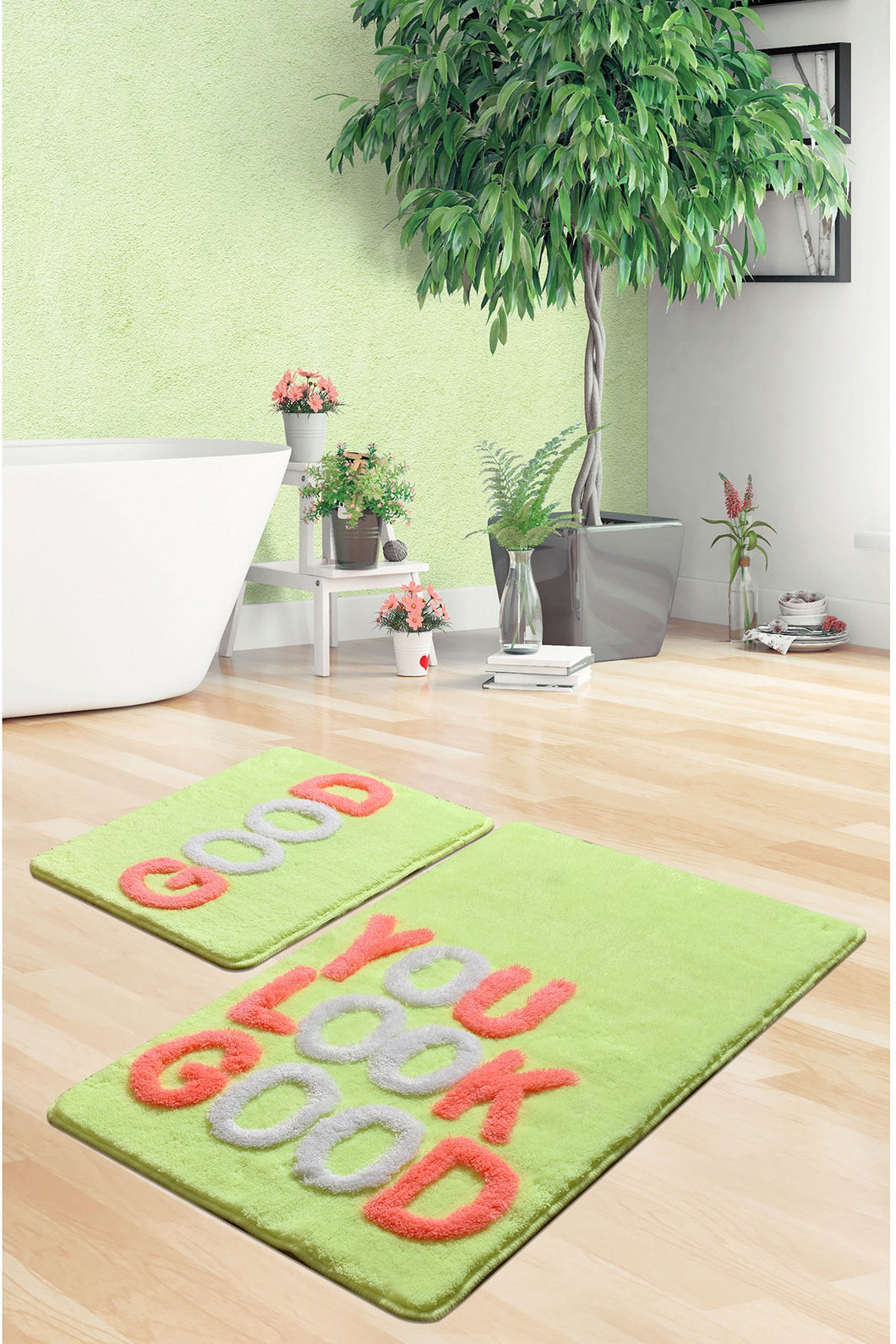 Antdecor Good Neon Set Of 2 Bath Rug 60X100 Cm - 50X60 Cm