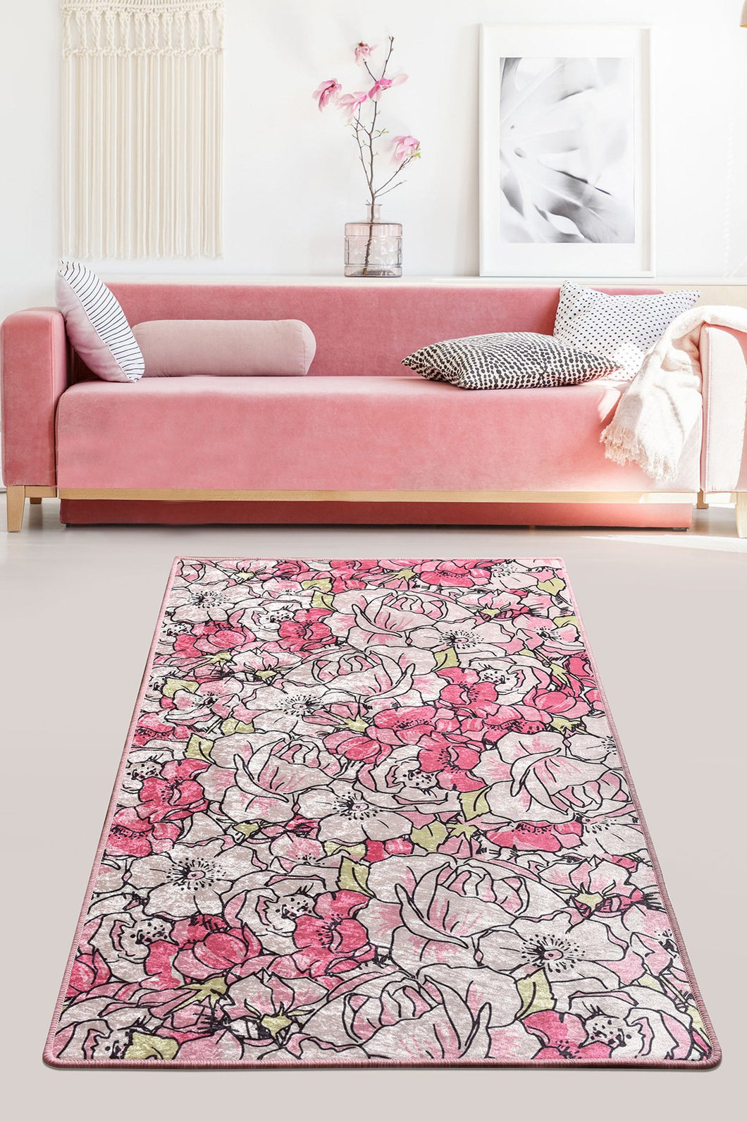 Antdecor Rosa Pink Decorative Carpet 80X200 Cm