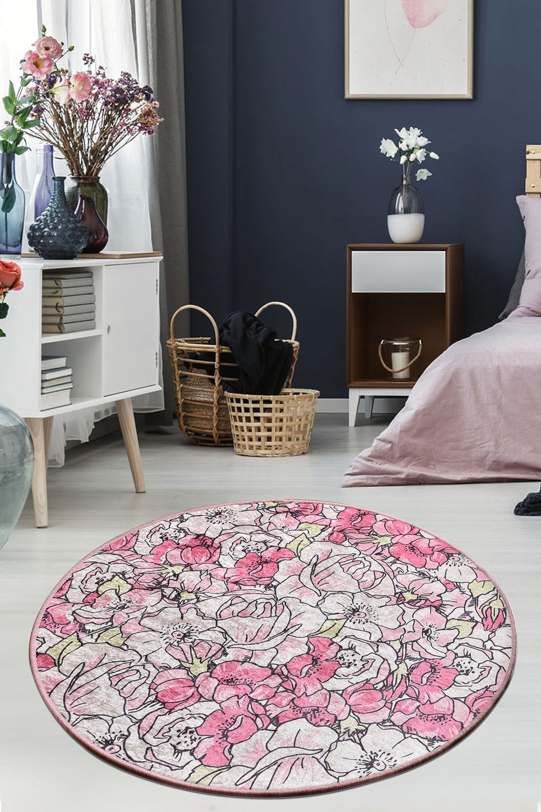 Antdecor Rosa Pink Decorative Carpet 140X140 Cm