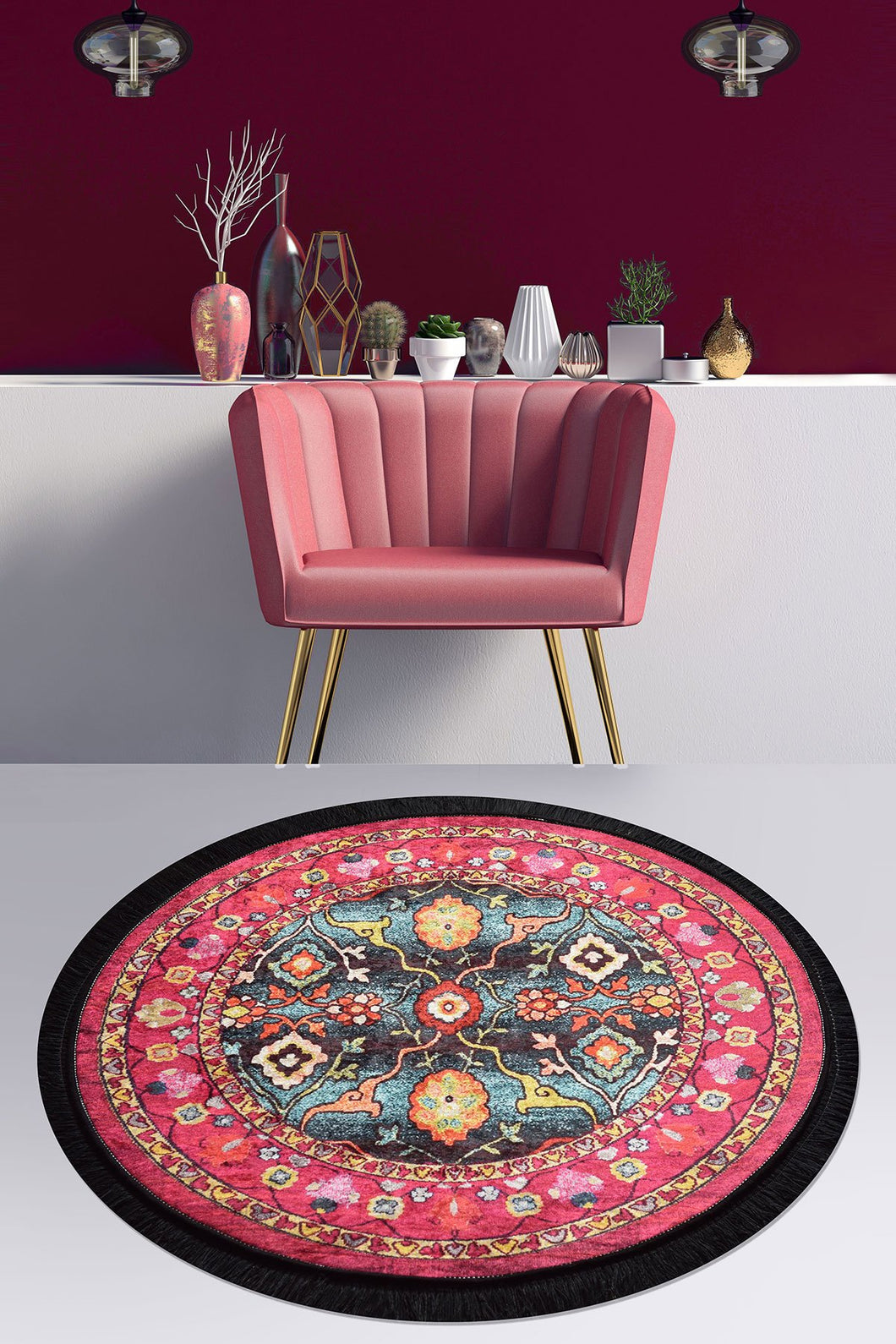 Antdecor Otantik Decorative Round Rug 40