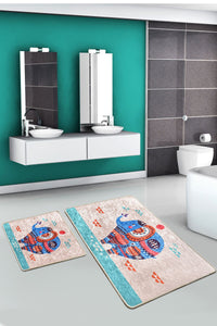 Antdecor Etnic Rectangle Set Of 2 Bath Rug 60X100 Cm - 50X60 Cm