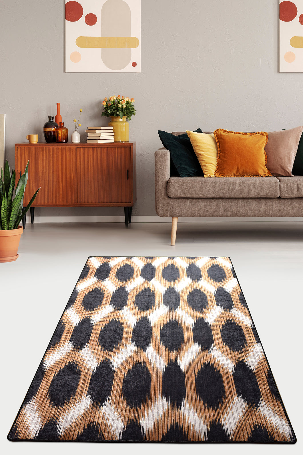 Area Rug Gold And Black 160x230cm