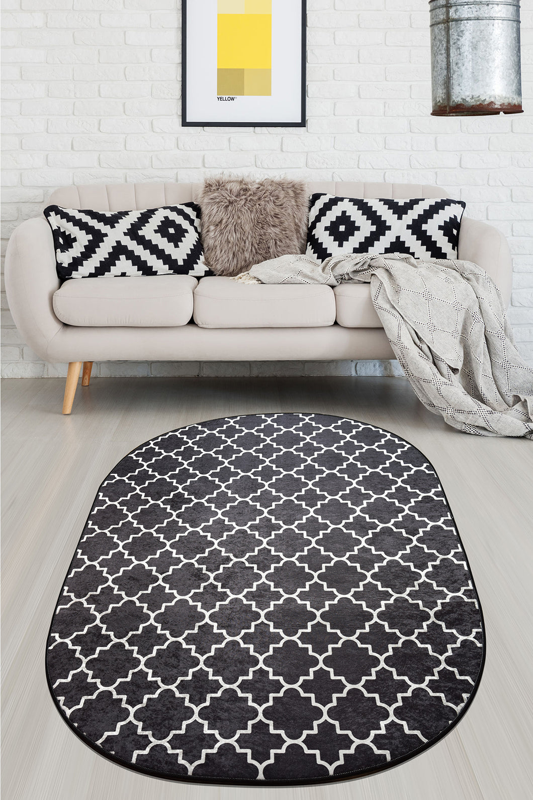 Area Rug Cup Oval Black 140x190cm