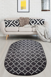 Area Rug Cup Oval Black 160x230cm