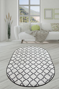 Area Rug Cup Oval White 100x200cm