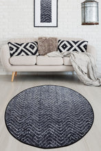 Load image into Gallery viewer, Antdecor Black&White Zig Zag Design Decorative Round Area Rug