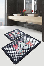 Load image into Gallery viewer, Antdecor Checkered Pattern Happy Vases Decorative Bathroom Rug