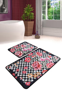 Antdecor Checkered Pattern Carnival of Flowers Decorative Bathroom Rug