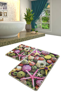 Antdecor Pebble Stones  Starfish Sea Design Decorative Bathroom Rug