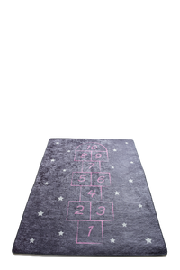 Antdecor Hopscotch Pattern Gray&Pink Kid's Room round area rug, bath rug