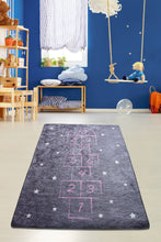Load image into Gallery viewer, Antdecor Hopscotch Pattern Gray&Pink Kid's Room round area rug, bath rug