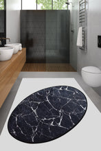 Load image into Gallery viewer, Antdecor Black&White Marble Pattern Decorative Oval Area Rug 23'' 35'' 60X90 cm
