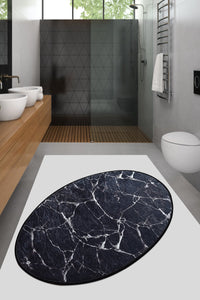 Antdecor Black&White Marble Pattern Decorative Oval Area Rug 23'' 35'' 60X90 cm
