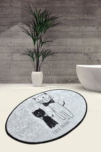 Load image into Gallery viewer, Antdecor Cutie Friends Cat Pattern Decorative Oval Area Rug 23'' 35'' 60X90 cm