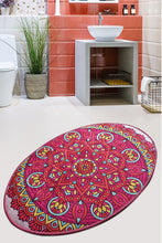 Load image into Gallery viewer, Antdecor Pink Mandala Design Decorative Oval Area Rug
