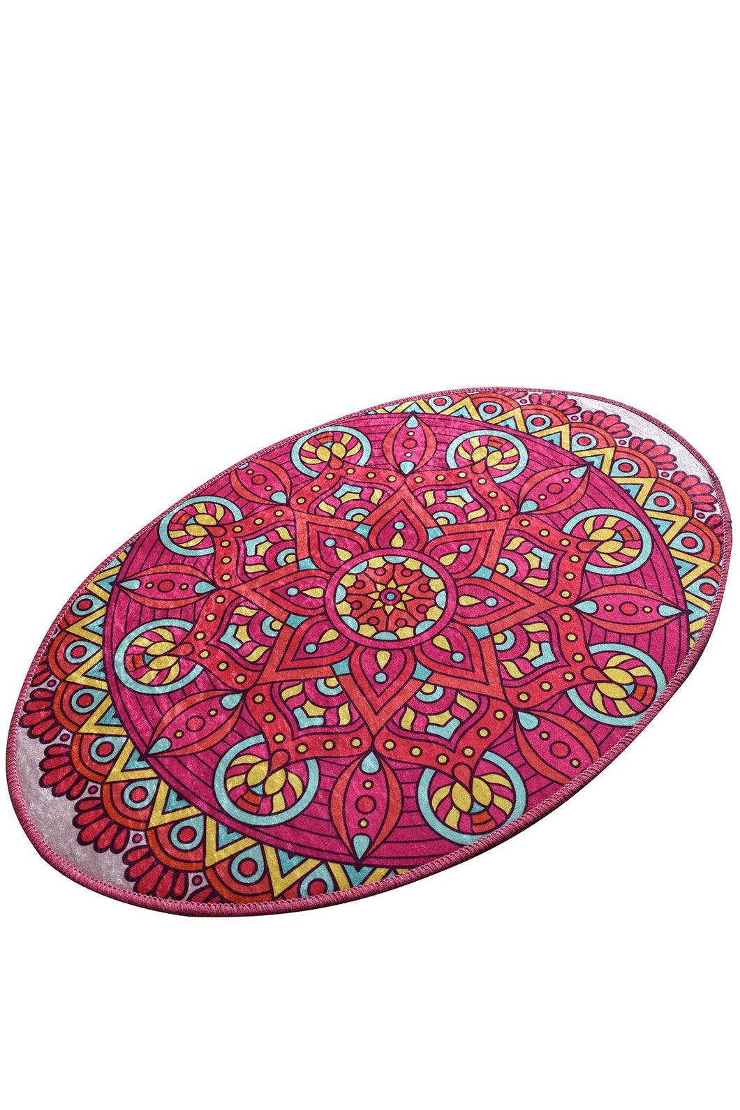 Antdecor Pink Mandala Design Decorative Oval Area Rug