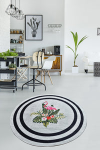 Antdecor Black Frame and Flamingo Decorative Round Area Rug 55'' 140 cm