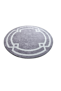 Antdecor Gray&White Geometric Pattern Decorative Round Area Rug 39'' 100 cm