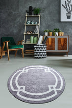 Load image into Gallery viewer, Antdecor Gray&White Geometric Pattern Decorative Round Area Rug 47'' 120 cm