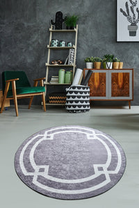Antdecor Gray&White Geometric Pattern Decorative Round Area Rug 55'' 140 cm