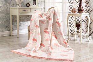 Antdecor Cotton Tv Blanket Flamingo