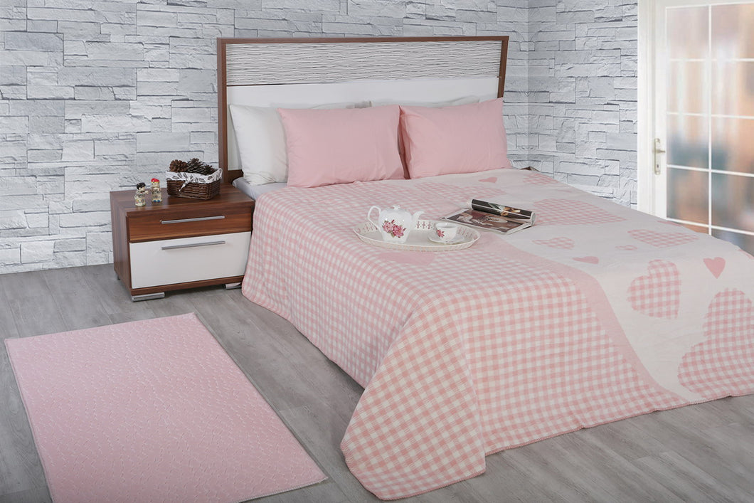 Antdecor Double Cotton Blanket Bella Pink