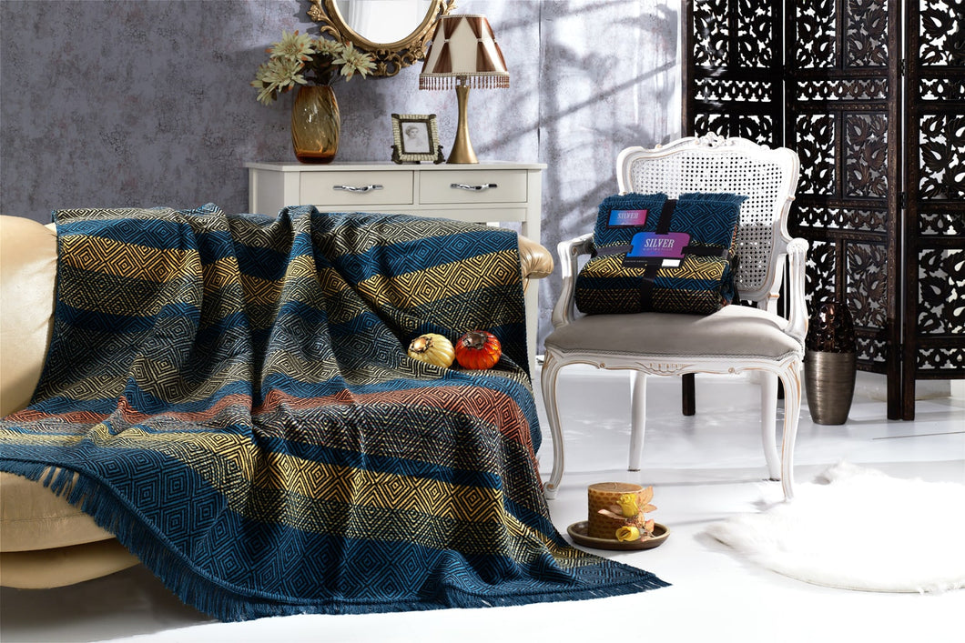 Antdecor Silver Collection Double Cotton Blanket Shay