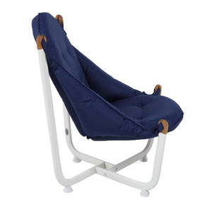 Longshore Tides Abramson Patio Chair Metal Outdoor Club Chairs Navy Blue