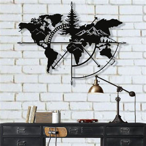 Antdecor METAL WORLD MAP WALL ART, MOUNTAIN METAL WALL DECOR